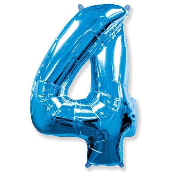 Фольгированная цифра 4, синий