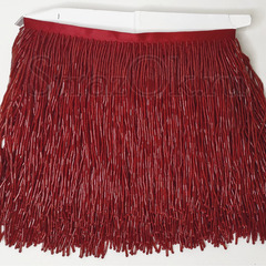 Купить оптом бахрому из стекляруса красную Siam в интернет-магазине