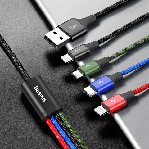 Кабель Baseus Fast 4-in-1 Cable For lightning(2)+Type-C+Micro 3.5A 1.2M Black