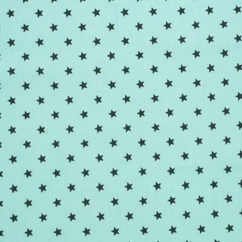 Ткань хлопковая звезды черные на бирюзовом, отрез 50*80 см
