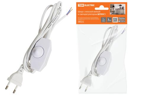 Шнур с плоской вилкой и светорегулятором ШУ05С1 (200Вт, RL) ШВВП 2х0,75мм2 2м. белый TDM