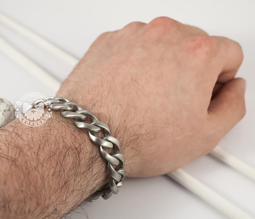 BM352 Стильный матовый браслет из ювелирной стали с широкой планкой - застежкой (22 см) фото 07
