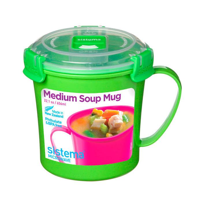 """Кружка суповая для СВЧ Sistema """"Microwave"""" 656 мл, цвет Зеленый"""