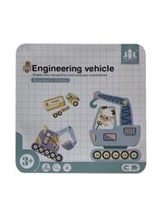 Развивающие магнитные карточки в жестяной коробке INGINEERING VEHICLE набор ТЕХНИКА - 44 элемента
