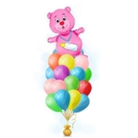 Фонтан из шаров с медведем для девочки