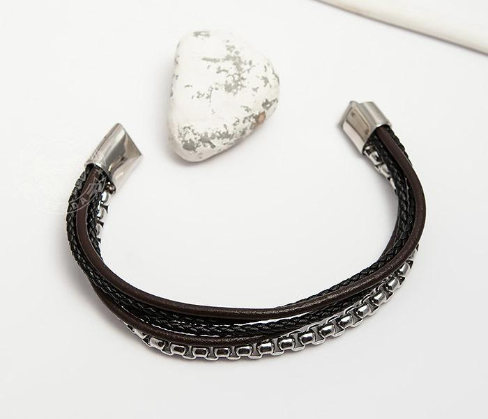 BM423 Необычный браслет из кожаных шнуров и стальной цепочки (20 см) фото 05