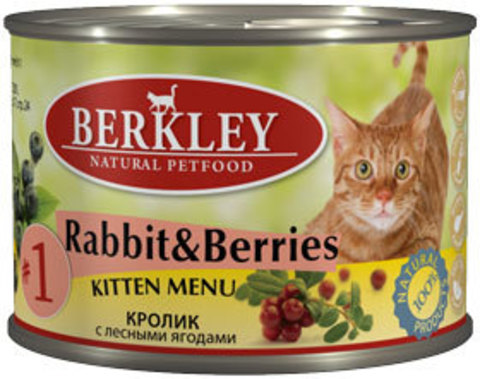 Консервы Berkley №1 Кролик с лесными ягодами для котят