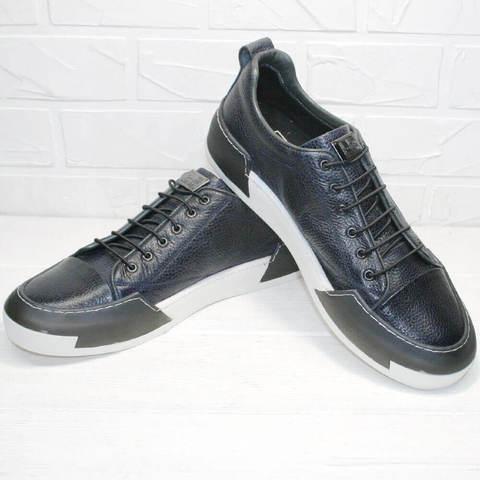 Модные кроссовки сникерсы. Демисезонные мужские кеды кожаные LucianoBellini-Blue.