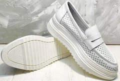 Стильные лоферы кроссовки женские белые на высокой подошве Derem 372-17 All White.