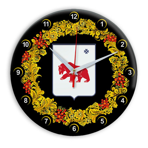 Часы в стиле Хохлома сувенирные Кудымкар 03