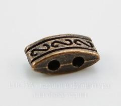 Разделитель на 2 нити 10х5х4 мм (цвет - античная медь)
