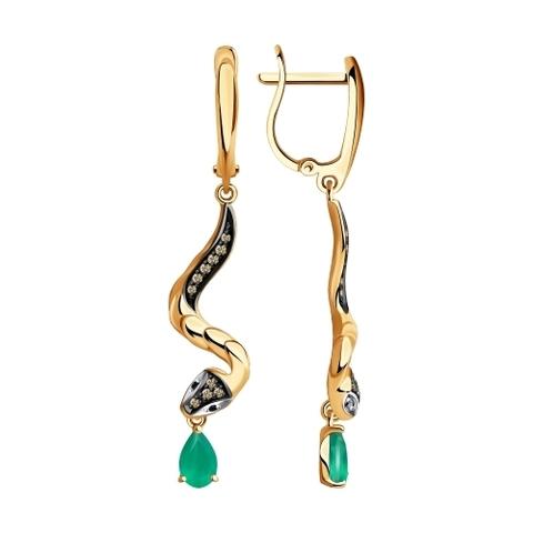 3020456 - Серьги Змеи из золота с бриллиантами и изумрудами