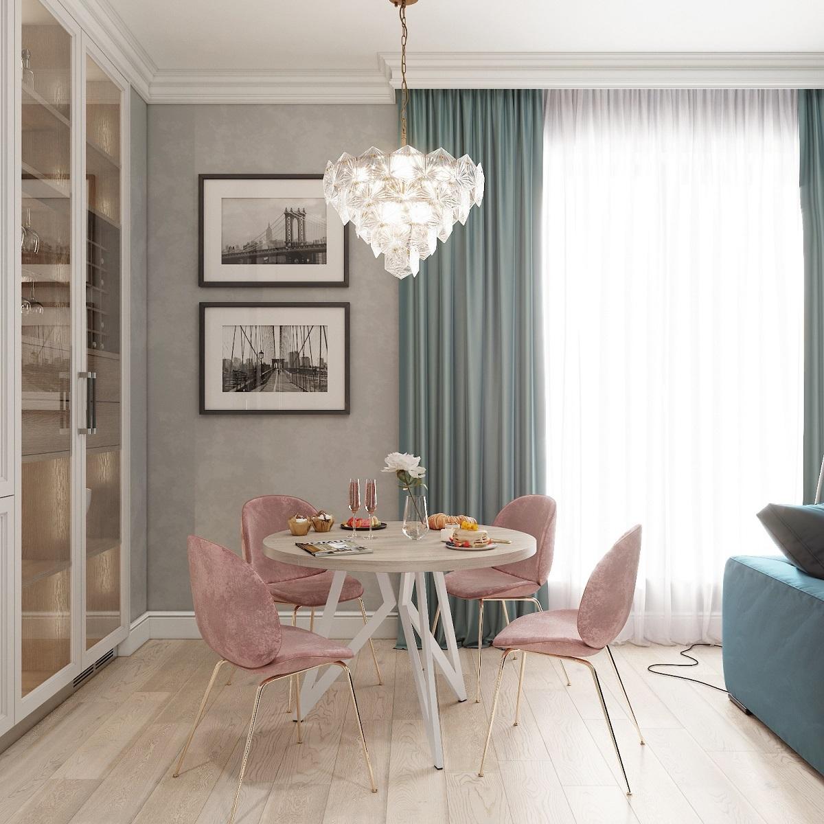 Обеденный стол ДОМУС Оригами-1 вяз светлый/металл белый