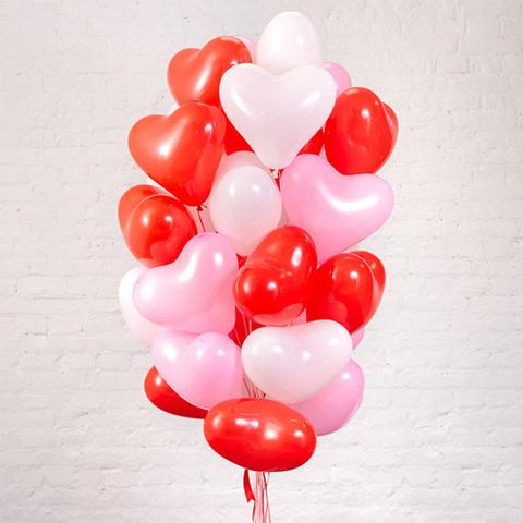 Воздушные шары сердца красно-бело-розовые