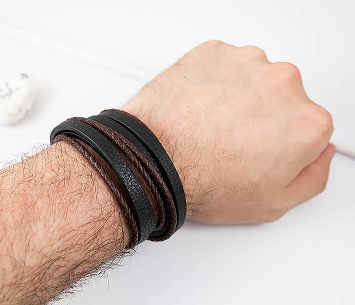 BM515 Мужской браслет из кожаных полос и шнуров (19,5 см) фото 08