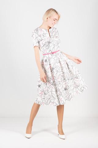 Фото приталенное хлопковое белое платье с цветочным принтом - Платье З373а-724 (1)