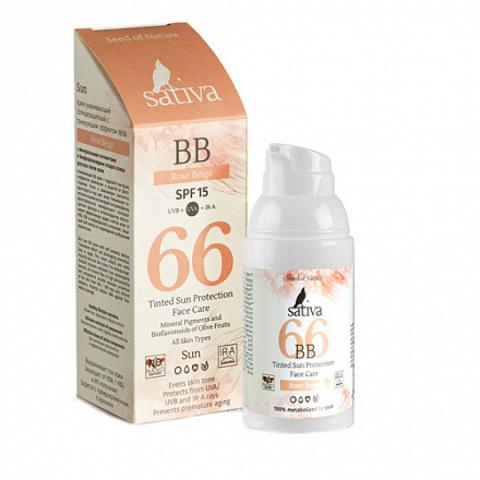 Sativa ВВ-крем ухаживающий №66 Rose Beige SPF 15