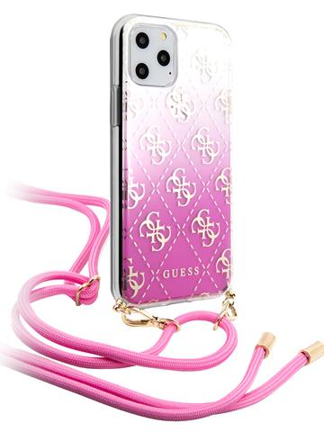 Чехол Guess 4G для iPhone 11 Pro Max | TPU ремень розовый градиент