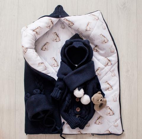 Вязаный комплект. Одеяло - трансформер, комбинезон, шапочка