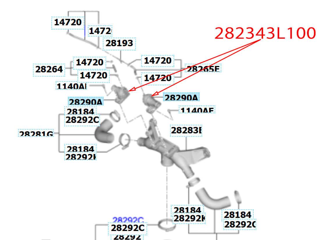 Схема расположения штатных байпас клапанов 282343L100 KIA/HYUNDAI