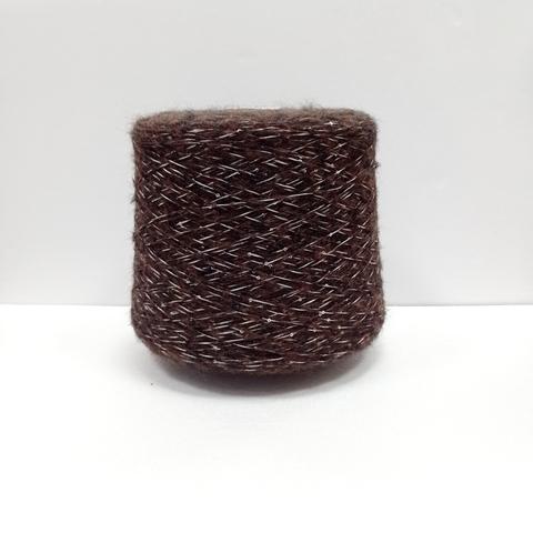 Бобинная пряжа с пайетками Suave. Цвет Темно-коричневый. Цена указана за 50г