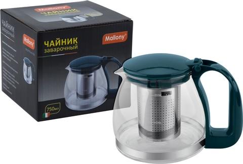 Чайник заварочный Mallony Decotto-AS-750 0,75л стекло,фильтр нерж.сталь,темно-зеленый