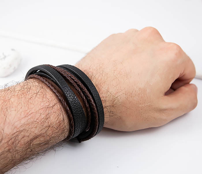 BM515 Мужской браслет из кожаных полос и шнуров (19,5 см) фото 09