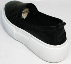 Черные кожаные слипоны женские Evromoda 457.024e White Black.