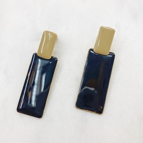 Серьги Прямоугольники эмаль ш925 (бежевый, черный)