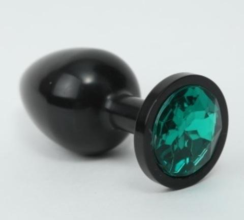 Анальная пробка металл черная с зеленым стразом 8,2х3,5см 47411-6MM