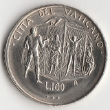 K9642, 1995, Ватикан, 100 лир aUNC холдер