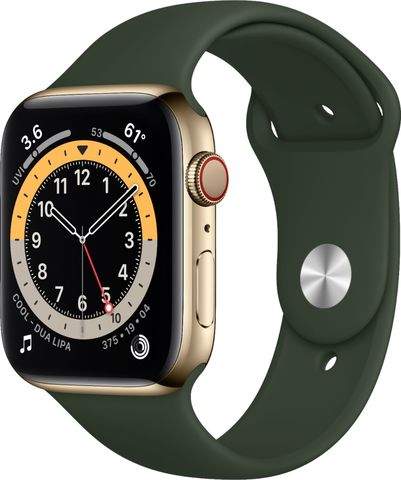 Часы Apple Watch Series 6 (GPS + Cellular) 44mm Gold Stainless Steel Case with Cyprus Green Sport Band - Gold (M07N3,M09F3)
