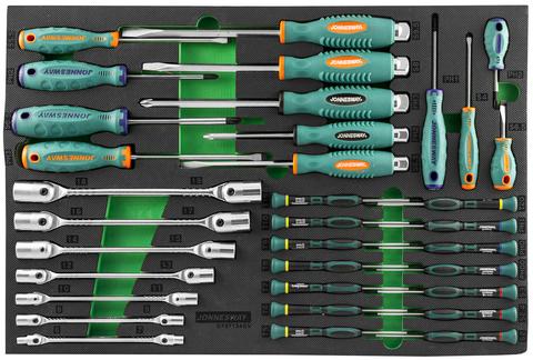 D737134SV Набор стержневых отверток и ключей гаечных карданных в EVA ложементе 560х400 мм, 34 предмета