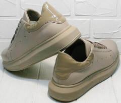 Модные спортивные туфли кроссовки женские Markos 1523 All Beige.