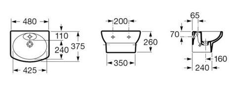 Мини раковина DAMA SENSO 48см встроенный пьедестал