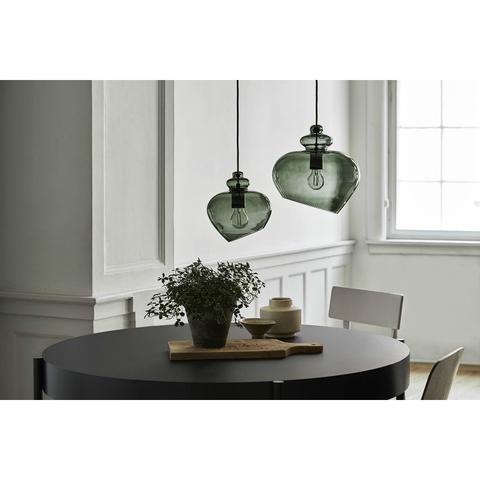 Лампа подвесная Grace, ø23 см, зеленое дымчатое стекло, черный цоколь