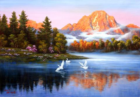 Алмазная Мозаика 40x50 Птицы летят над озером (арт. SGL73603)