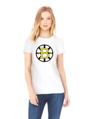 Футболка с принтом НХЛ Бостон Брюинз (NHL Boston Bruins) белая w008