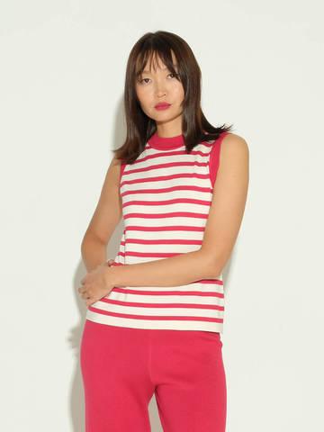 Женский свитер без рукавов в красно-молочную полоску из шелка и кашемира - фото 2