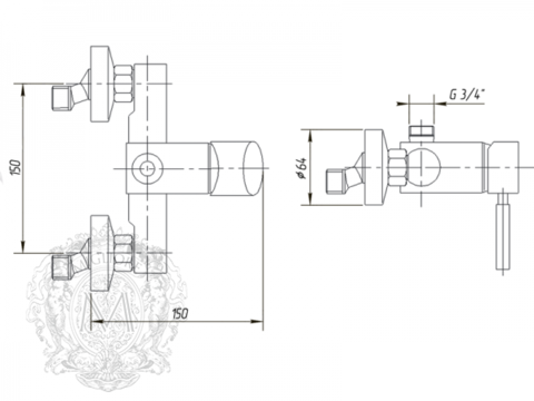 Смеситель для душевой колонны Migliore Fortis ML.FRT-5236 схема