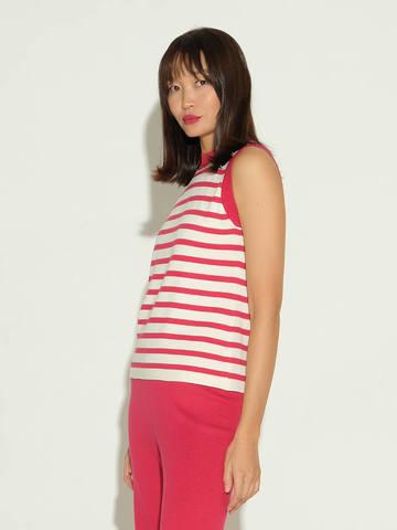 Женский свитер без рукавов в красно-молочную полоску из шелка и кашемира - фото 4