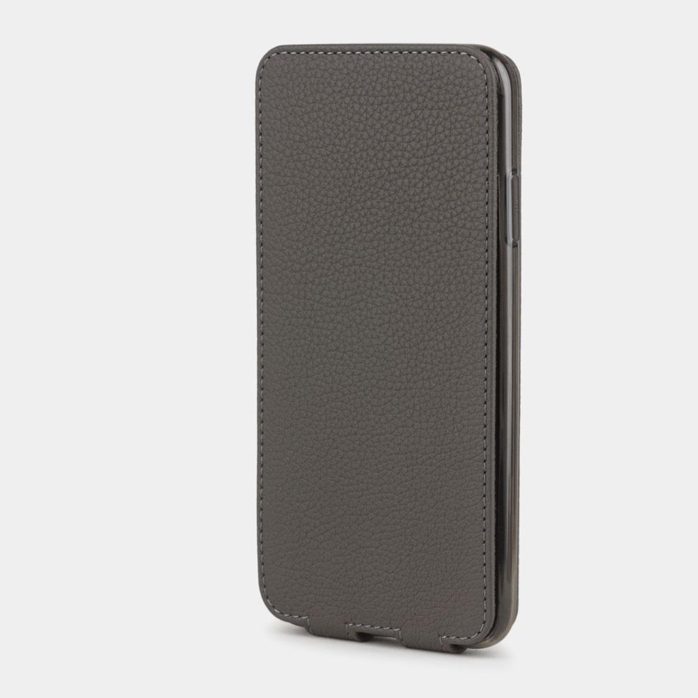 Чехол для iPhone XS Max из натуральной кожи теленка, серого цвета