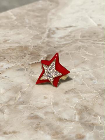 Кольцо Звезда из позолоченного серебра с красной эмалью