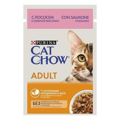 Cat Chow Консервы для взрослых кошек с Лососем и зеленым горошком в желе (Пауч)
