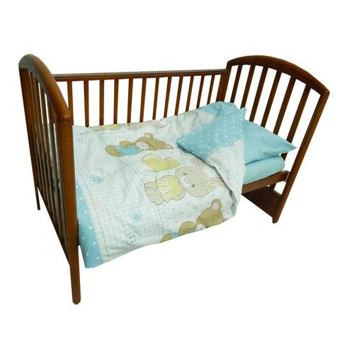Папитто. Комплект постельного белья из перкаля с простыней на резинке Друзья, голубой
