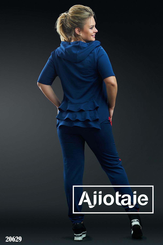 Двойка темно-синего цвета с оборками на футболке