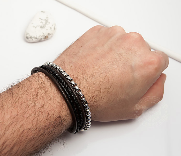BM423 Необычный браслет из кожаных шнуров и стальной цепочки (20 см) фото 06