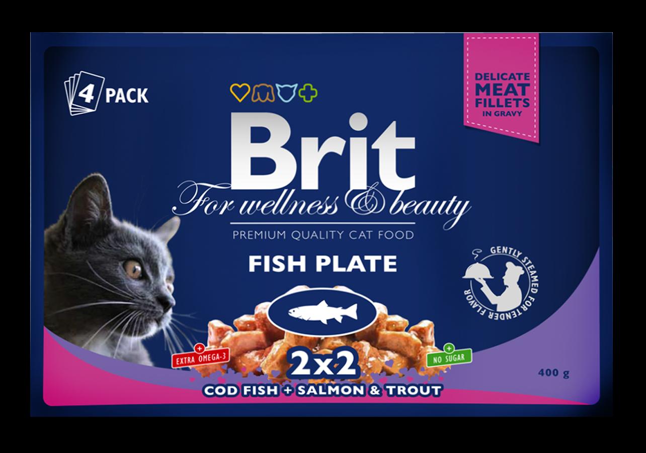 """Влажные корма Паучи для кошек, Brit Premium, """"Рыбная тарелка"""" ПРЕМИУМ_рыбная.png"""