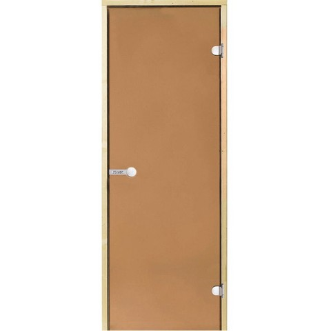 Дверь стеклянная Harvia 8х19, коробка ольха, стекло бронза, артикул D81901L