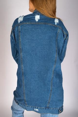 удлиненная джинсовая куртка синего цвета магазин